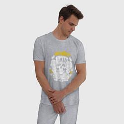 Пижама хлопковая мужская Skillet: Awake цвета меланж — фото 2