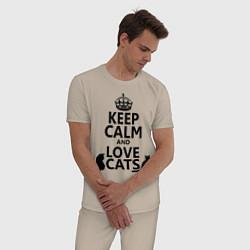 Пижама хлопковая мужская Keep Calm & Love Cats цвета миндальный — фото 2
