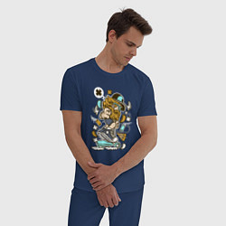 Пижама хлопковая мужская Хипстер на самокате цвета тёмно-синий — фото 2