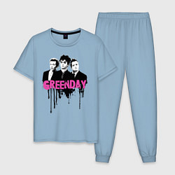 Пижама хлопковая мужская The Green Day цвета мягкое небо — фото 1