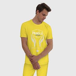 Пижама хлопковая мужская Fragile Express цвета желтый — фото 2