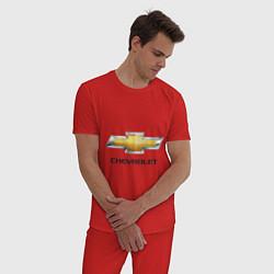 Пижама хлопковая мужская Chevrolet логотип цвета красный — фото 2