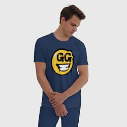 Пижама хлопковая мужская GG Smile цвета тёмно-синий — фото 2