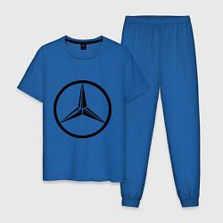 Пижама хлопковая мужская Mercedes-Benz logo цвета синий — фото 1