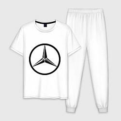 Пижама хлопковая мужская Mercedes-Benz logo цвета белый — фото 1