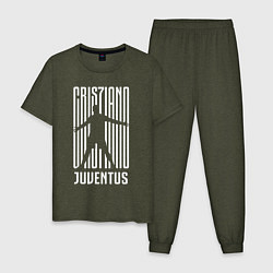 Пижама хлопковая мужская Cris7iano Juventus цвета меланж-хаки — фото 1