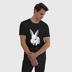 Пижама хлопковая мужская Rabbit: follow me цвета черный — фото 2