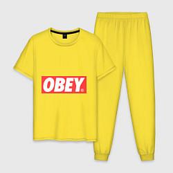 Пижама хлопковая мужская OBEY Logo цвета желтый — фото 1