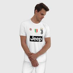 Пижама хлопковая мужская FC Juventus цвета белый — фото 2