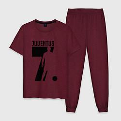 Пижама хлопковая мужская Juventus: Ronaldo 7 цвета меланж-бордовый — фото 1