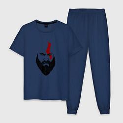 Пижама хлопковая мужская Ярость Кратоса цвета тёмно-синий — фото 1