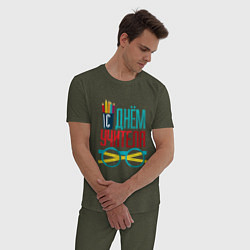 Пижама хлопковая мужская С днем учителя цвета меланж-хаки — фото 2