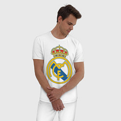 Пижама хлопковая мужская Real Madrid FC цвета белый — фото 2