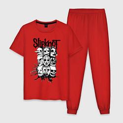 Пижама хлопковая мужская Slipknot Faces цвета красный — фото 1