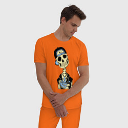 Пижама хлопковая мужская Скелет в кепке цвета оранжевый — фото 2