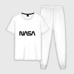Пижама хлопковая мужская NASA цвета белый — фото 1