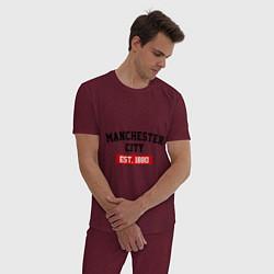 Пижама хлопковая мужская FC Manchester City Est. 1880 цвета меланж-бордовый — фото 2