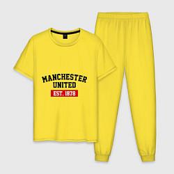 Пижама хлопковая мужская FC Manchester United Est. 1878 цвета желтый — фото 1