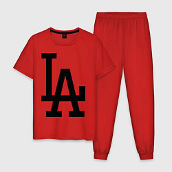 Пижама хлопковая мужская LA: Los Angeles цвета красный — фото 1