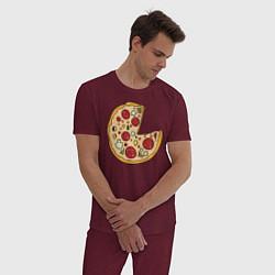 Пижама хлопковая мужская Пицца парная цвета меланж-бордовый — фото 2