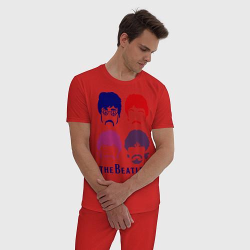 Мужская пижама The Beatles faces / Красный – фото 3