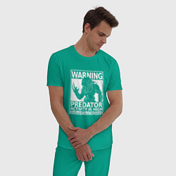 Пижама хлопковая мужская Predator Activity is High цвета зеленый — фото 2