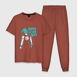 Пижама хлопковая мужская Super Saiyan God: Sky цвета кирпичный — фото 1