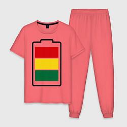 Пижама хлопковая мужская Happy Battary цвета коралловый — фото 1