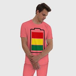 Пижама хлопковая мужская Happy Battary цвета коралловый — фото 2