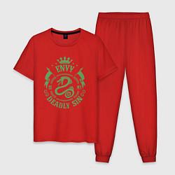 Пижама хлопковая мужская Envy: Deadly Sin цвета красный — фото 1