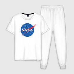 Пижама хлопковая мужская NASA: Sasa цвета белый — фото 1