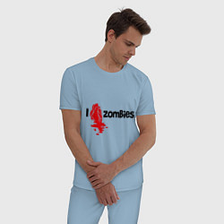 Пижама хлопковая мужская I love zombies цвета мягкое небо — фото 2