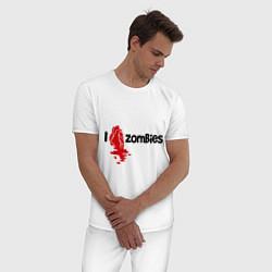 Пижама хлопковая мужская I love zombies цвета белый — фото 2
