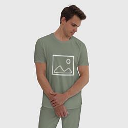 Пижама хлопковая мужская Ярлык картинки цвета авокадо — фото 2