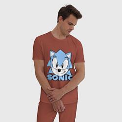 Пижама хлопковая мужская Соник цвета кирпичный — фото 2