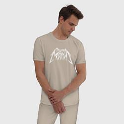 Пижама хлопковая мужская Пошлая Молли: Лого цвета миндальный — фото 2