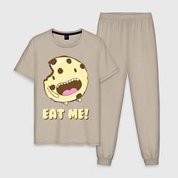 Пижама хлопковая мужская Cake: Eat me! цвета миндальный — фото 1
