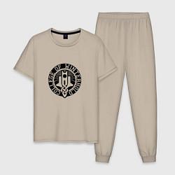 Пижама хлопковая мужская College of Winterhold цвета миндальный — фото 1