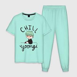Пижама хлопковая мужская Chill Yoongi цвета мятный — фото 1