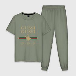 Пижама хлопковая мужская GUSSI Ga-Style цвета авокадо — фото 1
