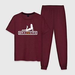 Пижама хлопковая мужская Brazzers: Sexy Style цвета меланж-бордовый — фото 1