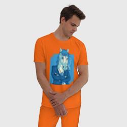 Пижама хлопковая мужская Лошадь-бизнесмен цвета оранжевый — фото 2