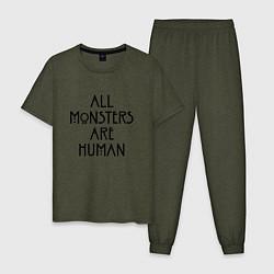 Пижама хлопковая мужская All monsters are human цвета меланж-хаки — фото 1