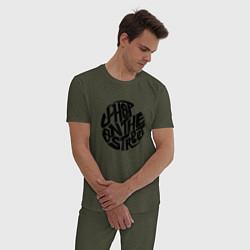 Пижама хлопковая мужская J-Hope: On the Street цвета меланж-хаки — фото 2