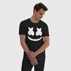 Пижама хлопковая мужская Marshmello цвета черный — фото 2