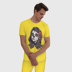 Пижама хлопковая мужская Mexican Girl цвета желтый — фото 2