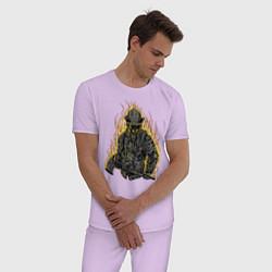 Пижама хлопковая мужская Пылающий пожарный цвета лаванда — фото 2