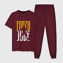 Пижама хлопковая мужская Forza Juve цвета меланж-бордовый — фото 1