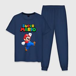 Пижама хлопковая мужская Super Mario цвета тёмно-синий — фото 1