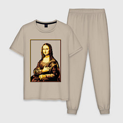 Пижама хлопковая мужская Fuck from Mona Lisa цвета миндальный — фото 1